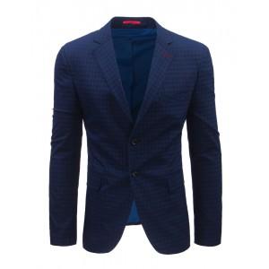 Modré sako pánske s károvaným vzorom a vreckami