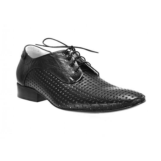 Pánske kožené spoločenské topánky čierne ID: 556