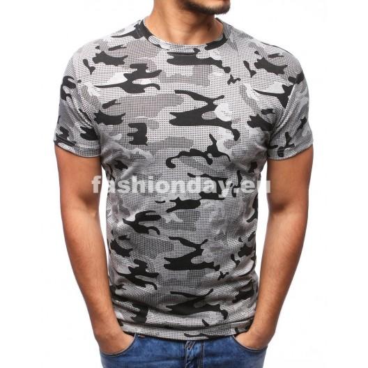 Pánske tričká so sivým maskáčovým vzorom