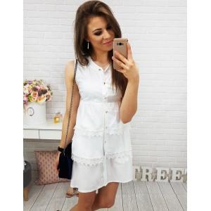 Dámske šaty nad kolená v bielej farbe