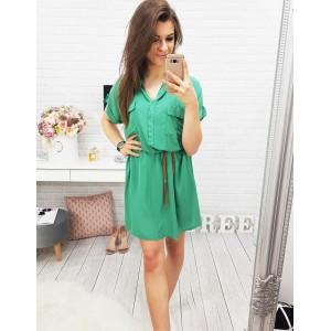 Košeľové šaty s krátkym rukávom v zelenej farbe