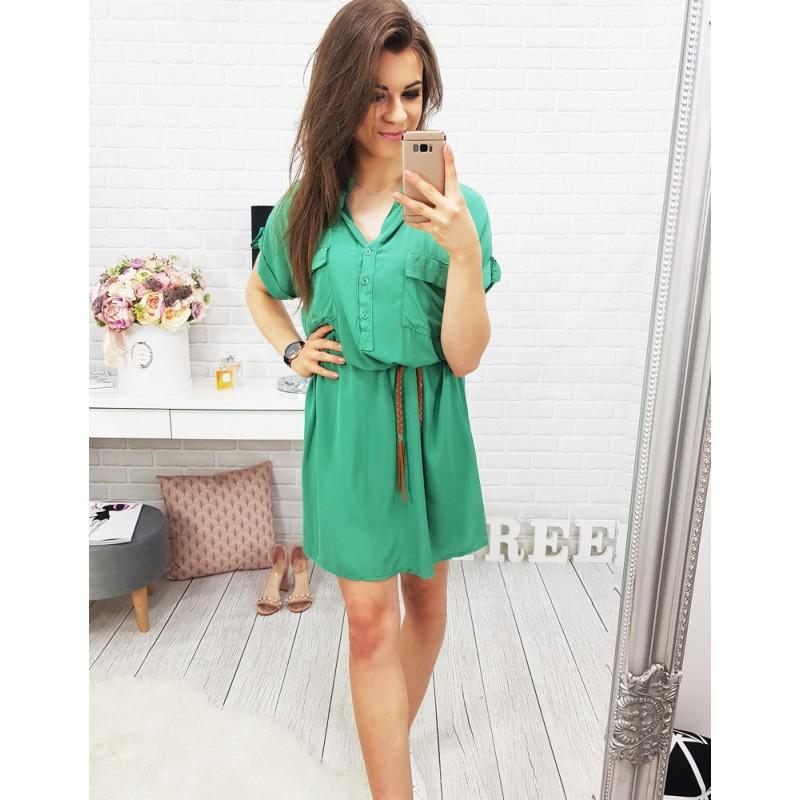 6566d62d9a82 Košeľové šaty s krátkym rukávom v zelenej farbe