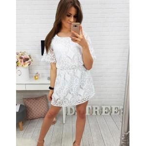 Čipkované šaty na leto bielej farby