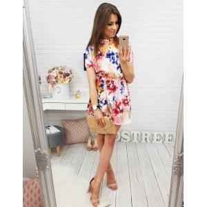 Kvetované šaty nad kolená s krátkym rukávom
