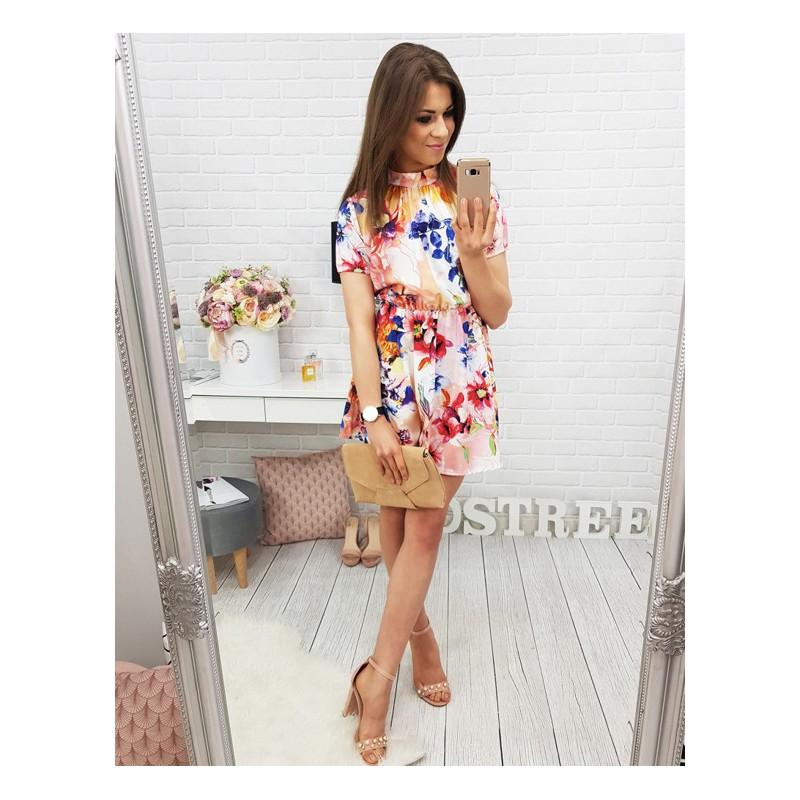 Predchádzajúci. Kvetované šaty nad kolená s krátkym rukávom ... a4d94424325