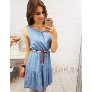 Krátke šaty modrej farby bez rukávov