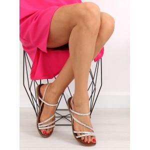 Dámske sandálky béžovej farby s rovnou podrážkou