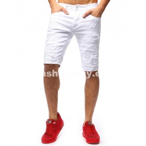 Riflové šortky pánske v bielej farbe