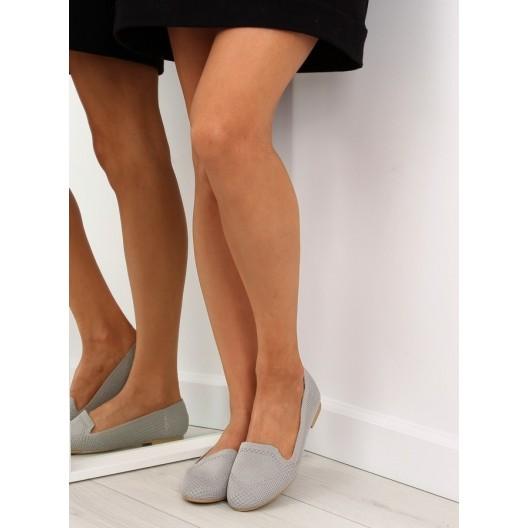 Dievčenské balerínky sivej farby s opätkom