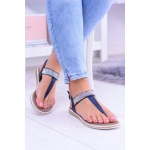Dámske sandále nízke tmavo modrej farby