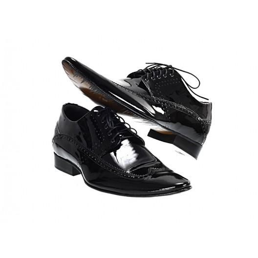 Pánske kožené spoločenské topánky lesklé čierne ID:561