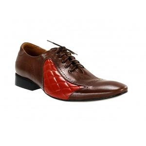 Pánske kožené spoločenské topánky hnedo-červené