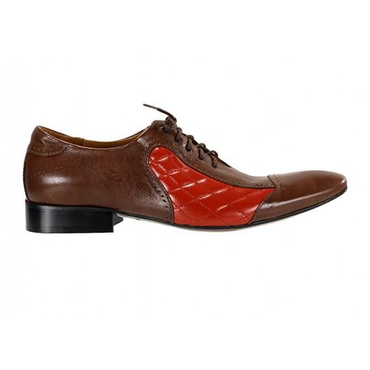 Pánske kožené spoločenské topánky hnedo-červené ID: 572