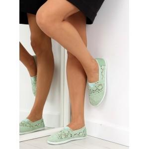 Dievčenské balerínky zelenej farby s čipkou
