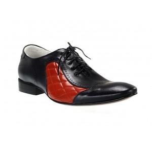 Pánske kožené spoločenské topánky modro-červené
