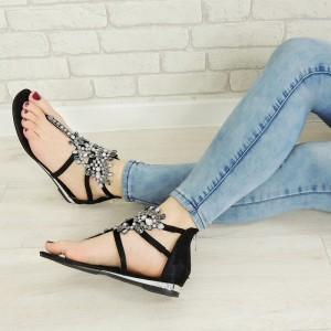 Dámske sandále nízke s ozdobnými kamienkami