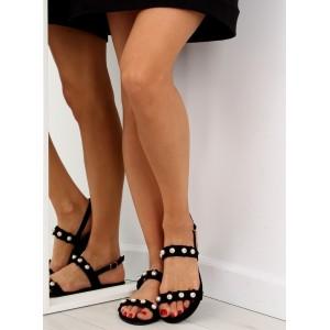 Dámske sandále na leto čiernej farby s ozdobou