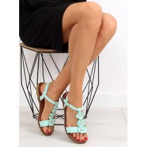 Dievčenské sandále svetlo zelenej farby