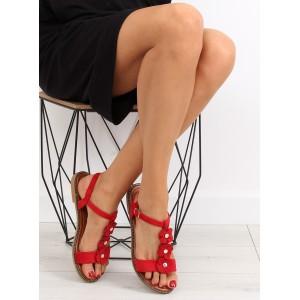 Sandále k spoločenským šatám v červenej farbe