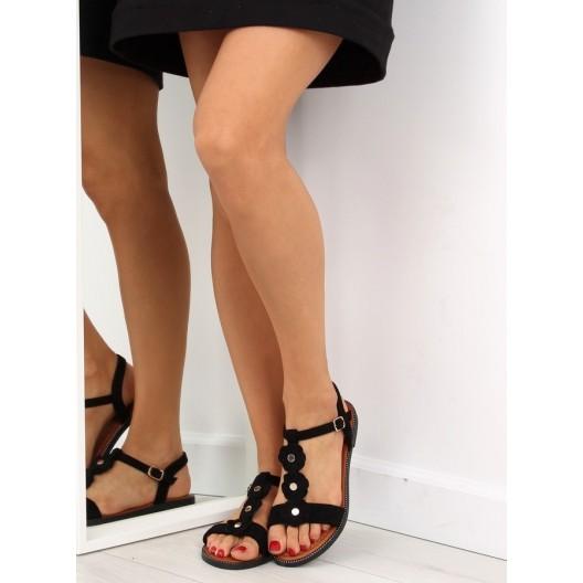 Dámske nízke sandále čiernej farby