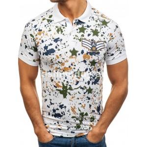 Tričko s golierom v bielej farbe