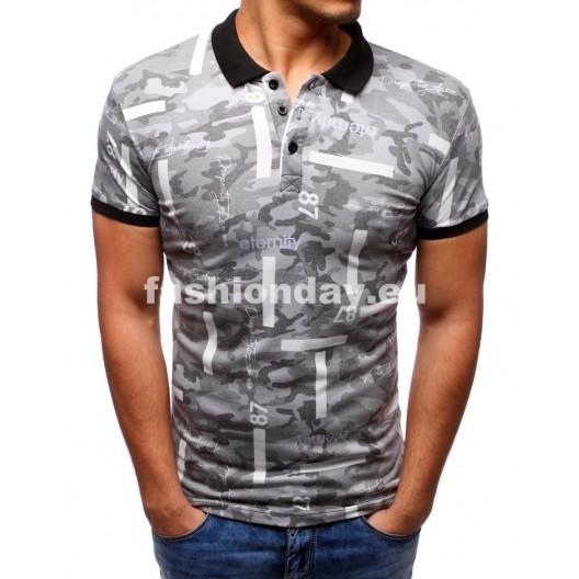 Tričko s golierom v sivej farbe
