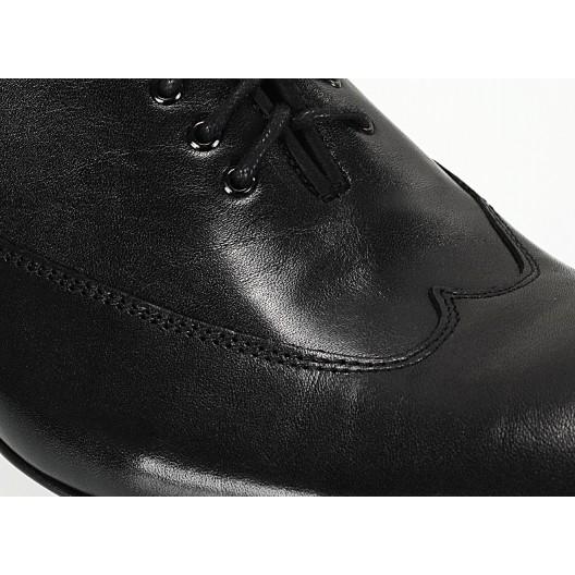 Pánske kožené spoločenské topánky lesklé čierne ID:603