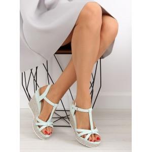 Dámske vysoké sandále zelenej farby