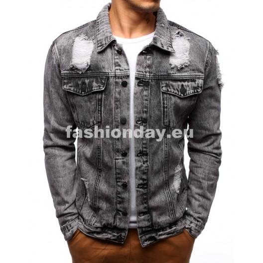 Jeansové bundy v sivej farbe pre pánov