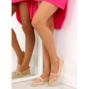 Dámske topánky na leto s motívom v béžovej farbe