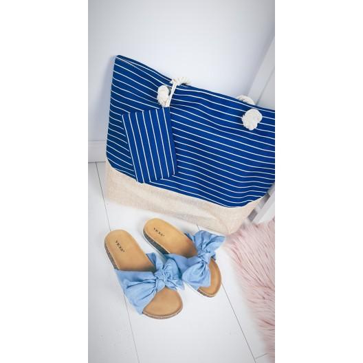 Plážová taška veľká v modrej farbe pre dámy