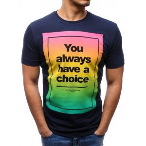 Tričko s nápisom v tmavo modrej farbe