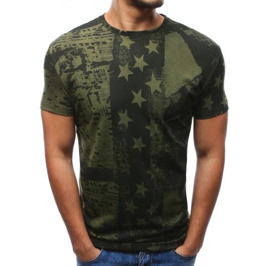 Moderné trička pánske olivovo zelenej farby