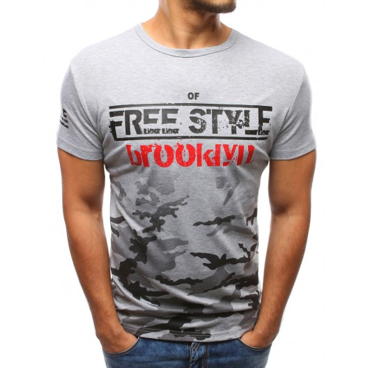 Moderné trička pánske sivej farby s potlačou