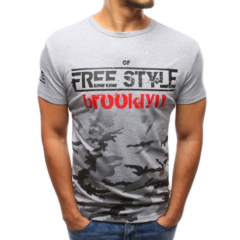 e406b041e9a2 Moderné trička pánske sivej farby s potlačou