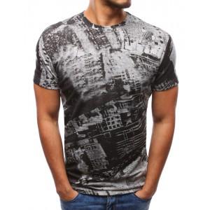 Pánske moderné trička s potlačou v sivej farbe