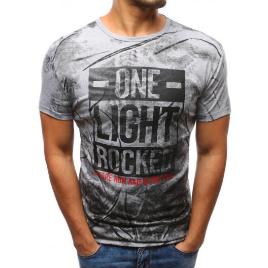 Tričká pre mužov sivej farby s nápisom