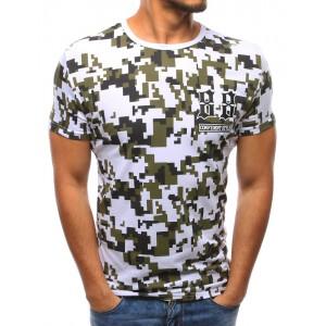 Bavlnené tričko bielej farby v army štýle