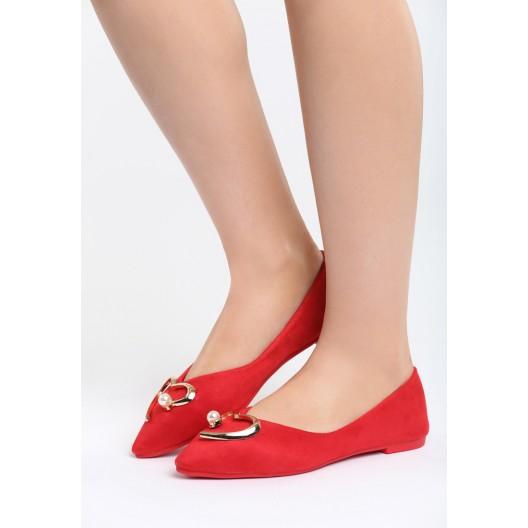 Dámske baleríny červenej farby