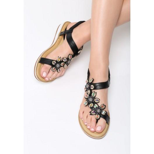 Letné sandálky čierne s bielou podrážkou