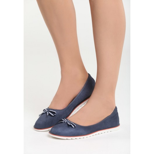 Elegantné balerínky pre dámy v modrej farbe