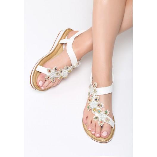 Sandále s kamienkami bielej farby