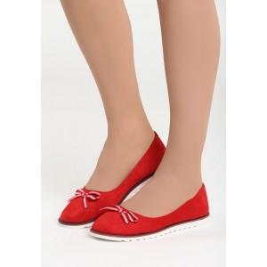 Červené balerínky s bielou podrážkou