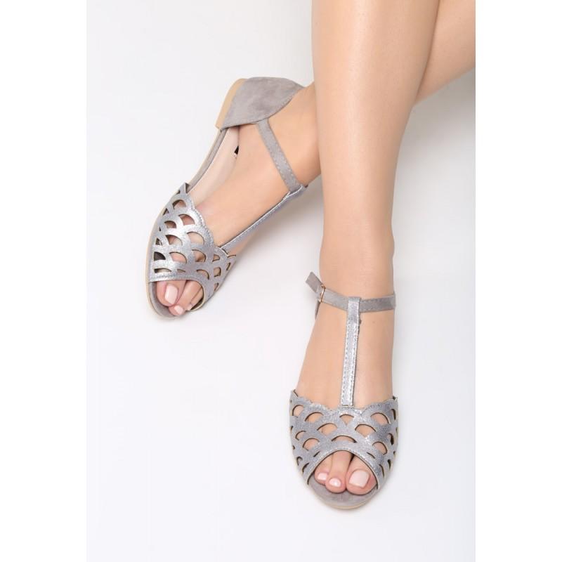 9a577b8041b1 Dámske sandále nízke v sivej farbe