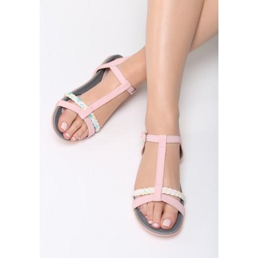 Dámske sandále s remienkami v ružovej farbe