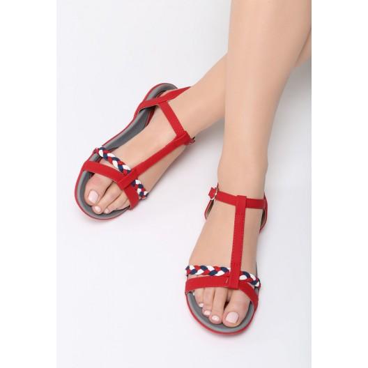 Štýlové sandále červenej farby na leto