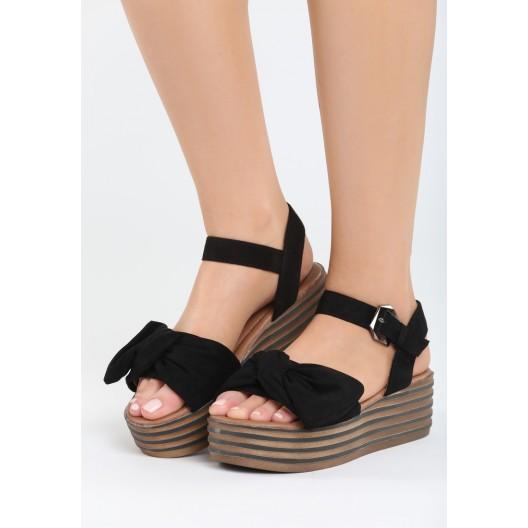Čierne sandále na opätku pre dámy