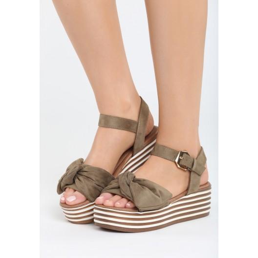 Dámske sandále na platforme zelenej farby