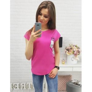 Moderné tričká dámske v sýto ružovej farbe