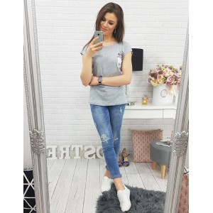 Bavlnené tričká v sivej farbe s náprsným vreckom